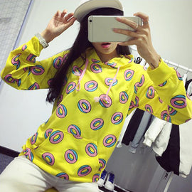 Space Cat Shirts - Donuts Printed Aesthetic Sweatshirt Pullover - aesthetic clothing