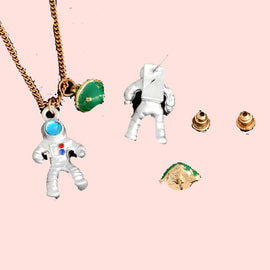 Astronaut and planet pendant Aesthetic necklace