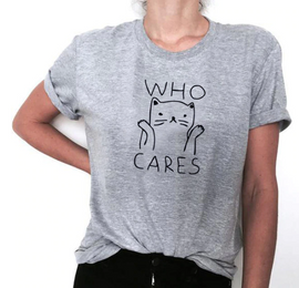WHO CARES Cat Aesthetic T-Shirt