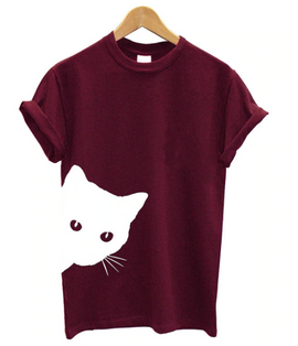 Cat Looking Out Aesthetic T-shirt