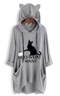 """I Do What I Want"" Cat Hooded Aesthetic Sweater"
