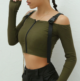 Knitted Zipper Aesthetic Crop Strap Top