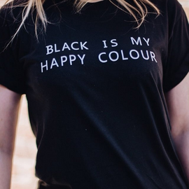 """Black is my Happy Color"" Aesthetic T-Shirt"
