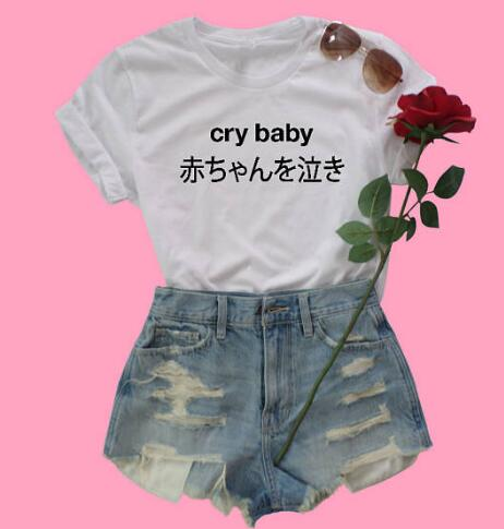 47c5f5207e62f Space Cat Shirts - Crybaby Graphic Aesthetic T-Shirt - aesthetic clothing  ...