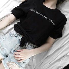 "Space Cat Shirts - ""Wear Black Or Stay Naked"" Aesthetic T-Shirt - aesthetic clothing"