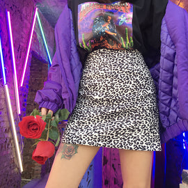 Space Cat Shirts - Black High Waisted Leopard Aesthetic Skirt - aesthetic clothing