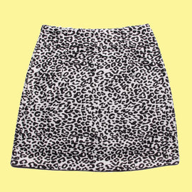 Black High Waisted Leopard Aesthetic Skirt