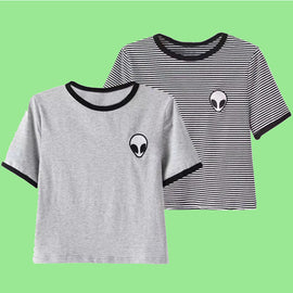 Space Cat Shirts - Alien buddy aesthetic crop top Short Sleeve T Shirt - aesthetic clothing