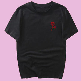 """People Are Poison"" Rose Sleeve Aesthetic Tshirt"