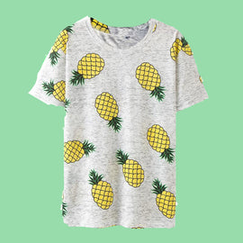 Space Cat Shirts - 2018 Hot Style Pineapple Print Aesthetic Women Shirts - aesthetic clothing