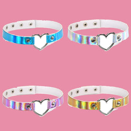 Space Cat Shirts - Holographic Choker Heart Aesthetic Necklace - aesthetic clothing