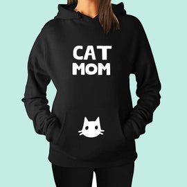 Space Cat Shirts - Cat Mom Letter Print Aesthetic Hoodies - aesthetic clothing