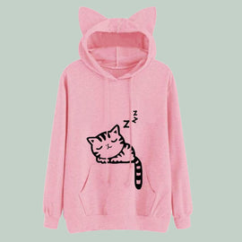 Space Cat Shirts - Pink Winter Cat Pattern Hooded Aesthetic Sweatshirts - aesthetic clothing