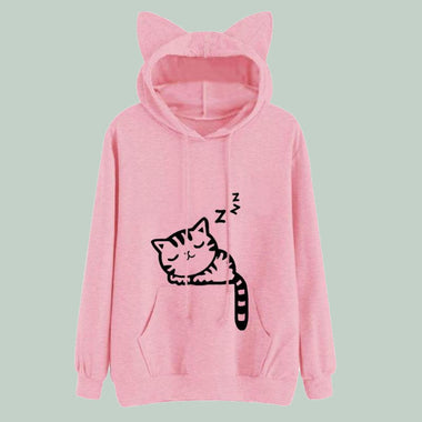 254a463e7c2de Space Cat Shirts - Pink Winter Cat Pattern Hooded Aesthetic Sweatshirts - aesthetic  clothing