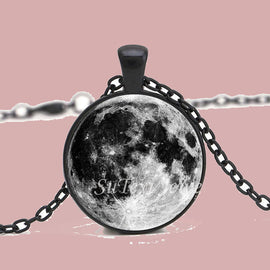 Space Cat Shirts - Charming Nebula galaxy Cabochon Silver Plated Long Pendant Aesthetic Necklace - aesthetic clothing