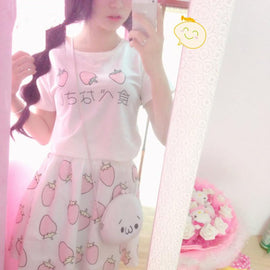 Space Cat Shirts - Strawberry T Shirt Aesthetic School Clothes Uniform - aesthetic clothing