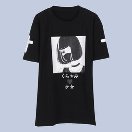 Space Cat Shirts - Qlychee Dark Girl Japanese Print Aesthetic T shirt - aesthetic clothing