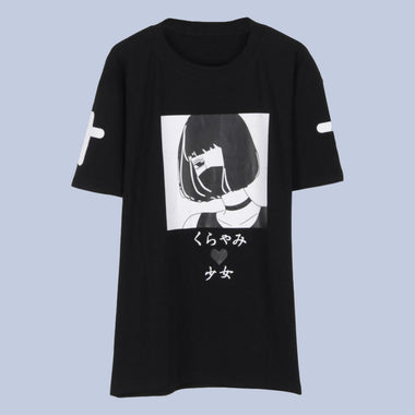 1e26074605e1 Space Cat Shirts - Qlychee Dark Girl Japanese Print Aesthetic T shirt - aesthetic  clothing
