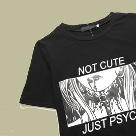Space Cat Shirts - Not Cute Just Psycho Aesthetic T-Shirt - aesthetic clothing