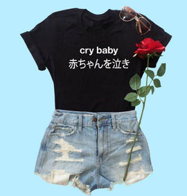 Space Cat Shirts - Crybaby Graphic Aesthetic T-Shirt - aesthetic clothing