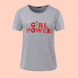 Girl Power letter Red Rose Printed Aesthetic t-shirt