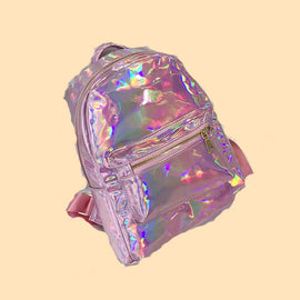 Silver Gold Pink Laser Holographic Aesthetic Backpack