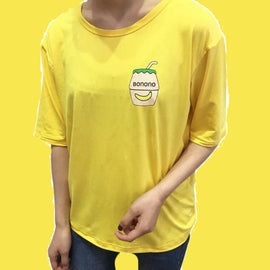 Cute Banana Milk Embroidered Short Sleeve Aesthetic T-shirts