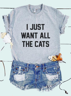 """I Just Want all the Cats"" Aesthetic T-Shirt"