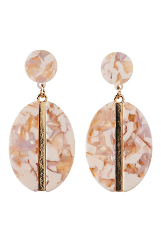 ZENA OVAL EARRING - BISQUE