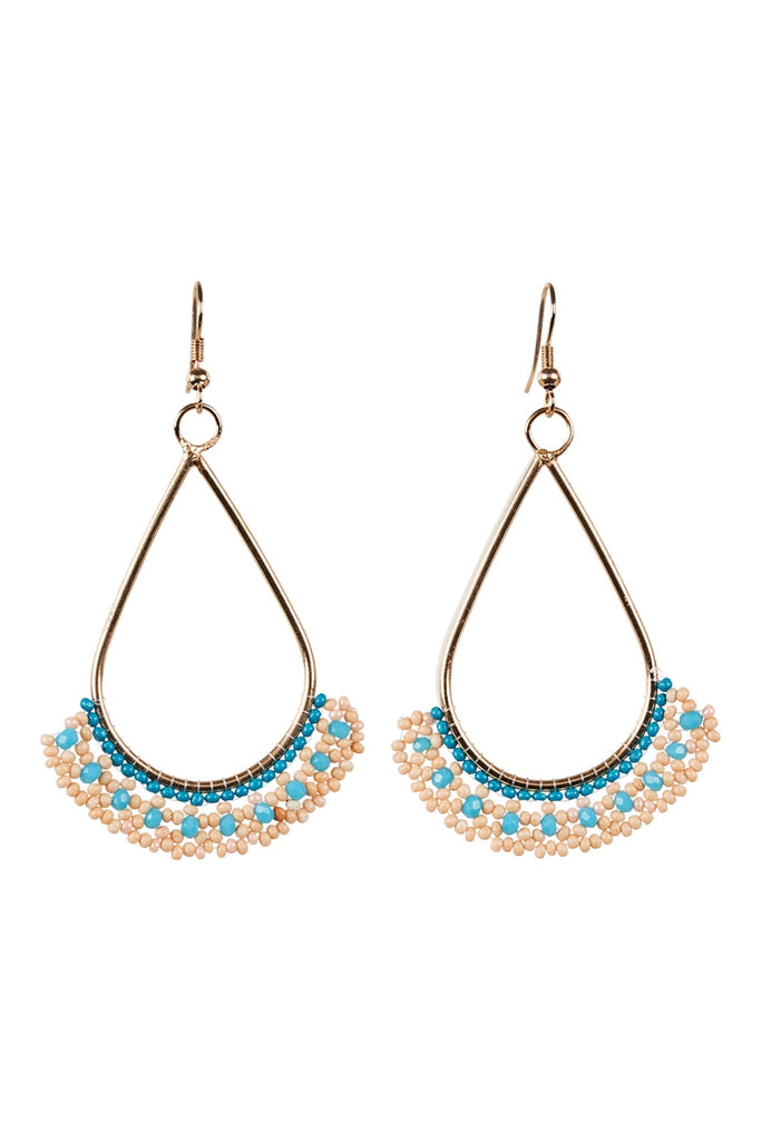 SOCIETY BEAD EARRING - PEACH/CYAN