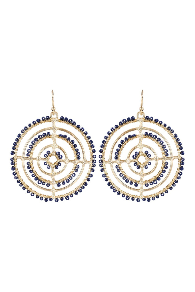 BEADED CIRCLE EARRING - INK