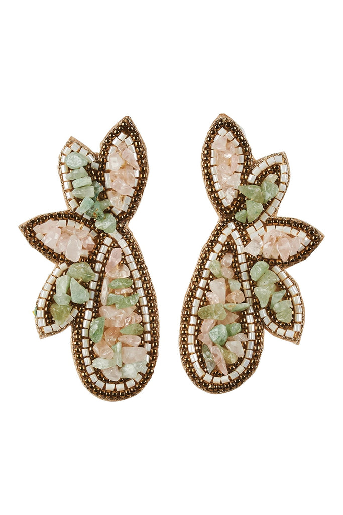 SOCIETY STONE/ BEAD EARRINGS- COPPER/ MINT
