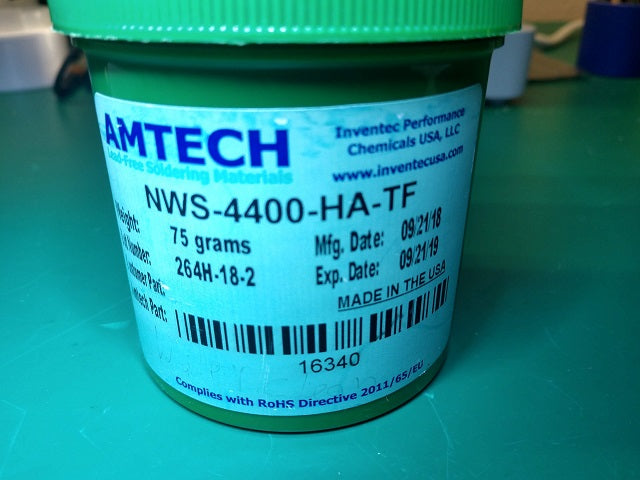 AMTECH NWS-4400-HA-TF Water-Washable Lead-Free Tacky Solder Flux (REM1) in 75 Gram Tub