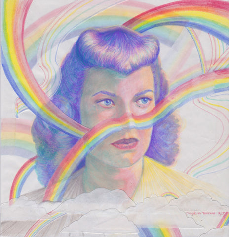 vintage portrait of a woman from the 1940s with purple hair and surrounded by rainbows illustrated by Christina Thomas