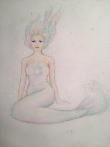 pastel colored drawing of a magical mermaid drawn for a tattoo by artist Christina Thomas