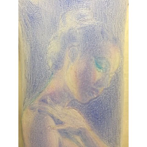 Pastel colored painting of Marquis Sklennar portrait on plexiglass by artist Christina Thomas