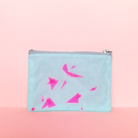 """Broken Glass"" Confetti Bag - Light Blue Mint & Glitter - Neon pink - Clutch - Zipper Pouch - makeup case - sm med - Handmade by Christina Thomas"
