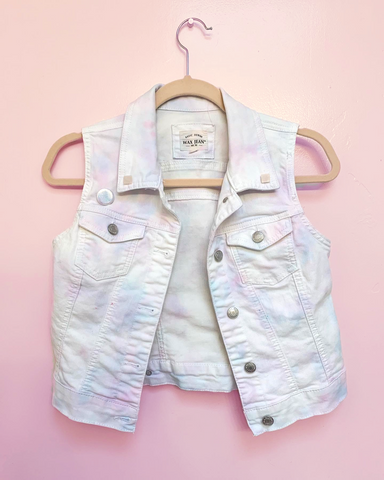Pastel Tie Dyed Denim Vest - White, Pink, Blue, & Lavender - with Rosequartz Pyramid Studs and Holographic Pin - Size Small sm
