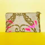 """Broken Glass"" Confetti Bag - Gold Scroll Design - Neon pink - Clutch - Zipper Pouch - makeup case - sm med - Handmade by Christina Thomas"