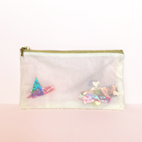 """Kaleidoscope"" Confetti Bag - Cream Light Pink & Glitter Cellophane - Clutch - Zipper Pouch - makeup case - med - Handmade by Christina Thomas"