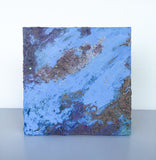 "Abstract Glitter Painting ""Map"" - 8x8 small - Periwinkle and Lavender - by Christina Thomas"