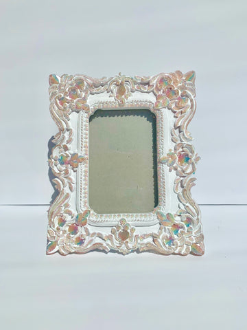 Rainbow Jelly Frame 4x6 ✨ Ornate Rococo Victorian Venetian Murano Glass Translucent ~ Vertical or Horizontal ~ small