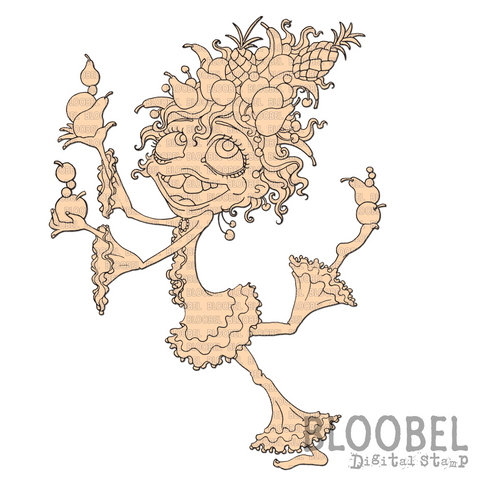 Carmen Quirky Character Coloring Page - Digital Stamps by Bloobel