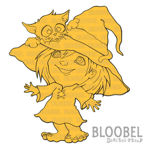 Cat In Her Hat - Digital Stamps by Bloobel