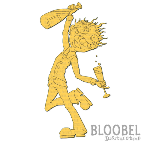 Champagne Man - Digital Stamps by Bloobel