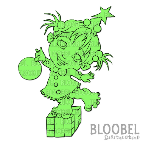 Christmas Tree Cutie - Digital Stamps by Bloobel