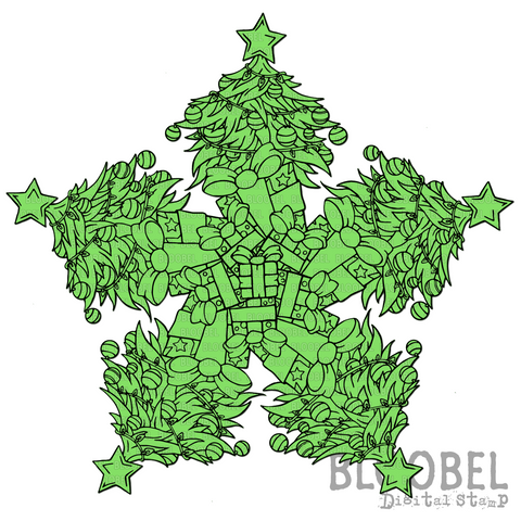 Christmas Tree Mandaloony Coloring Page
