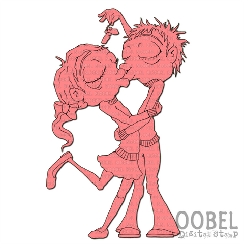 Mistletoe Couple - Digital Stamps by Bloobel