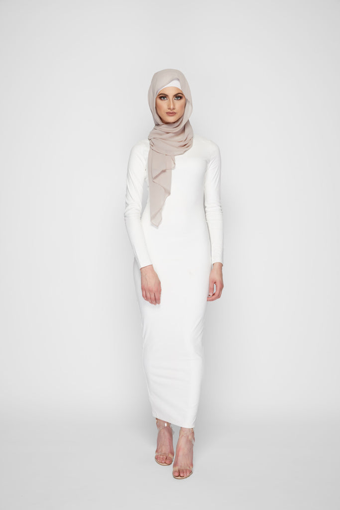 7b3fc0b30 LATIFAH WHITE SUEDE LONG SLEEVE MAXI DRESS