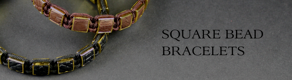 Exotic leather square bead bracelets for men